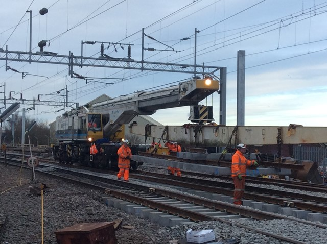 Track being lifted into place between Birmingham and Wolverhampton