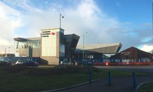 Port Talbot Parkway station 1: The striking new footbridge at Port Talbot Parkway station has now opened.