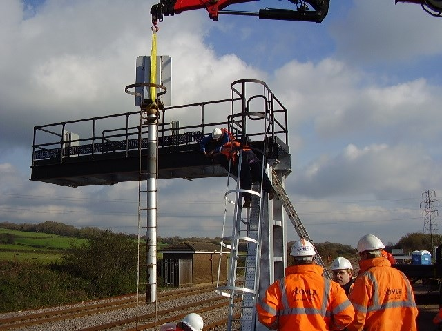 Port Talbot East Resignalling project: Erection of new signal at Stormy