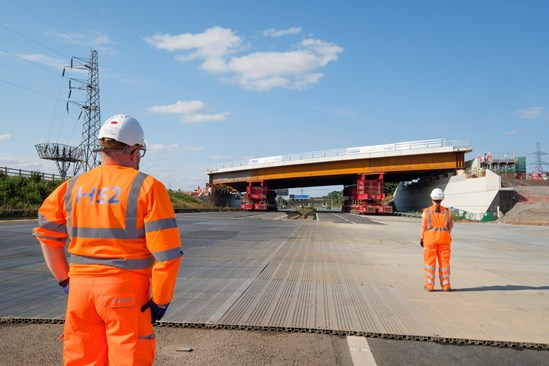 M42 modular bridge installation: Credit: HS2 Ltd (M42, bridge installation, bridge, innovation, construction, Solihull, Interchange, year in numbers, 2020) Internal Asset No. 17708