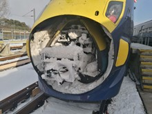 Class 395 coupling gear in snow and ice