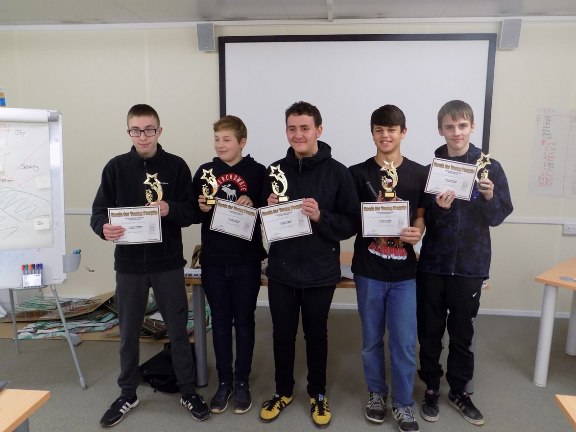 With awards, l-r Henry Evans, Lewis Christie, Aidan McConville, Ronell Paterson, Reece Hunter