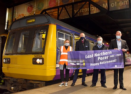 Retiring Pacer at Manchester Victoria: Pictured with Pacer 142004 are (l-r) Becky Styles, Community  and Sustainability Manager, Nick Donovan, Managing Director, Jason Ward, Driver and Chris Jackson, Regional Director