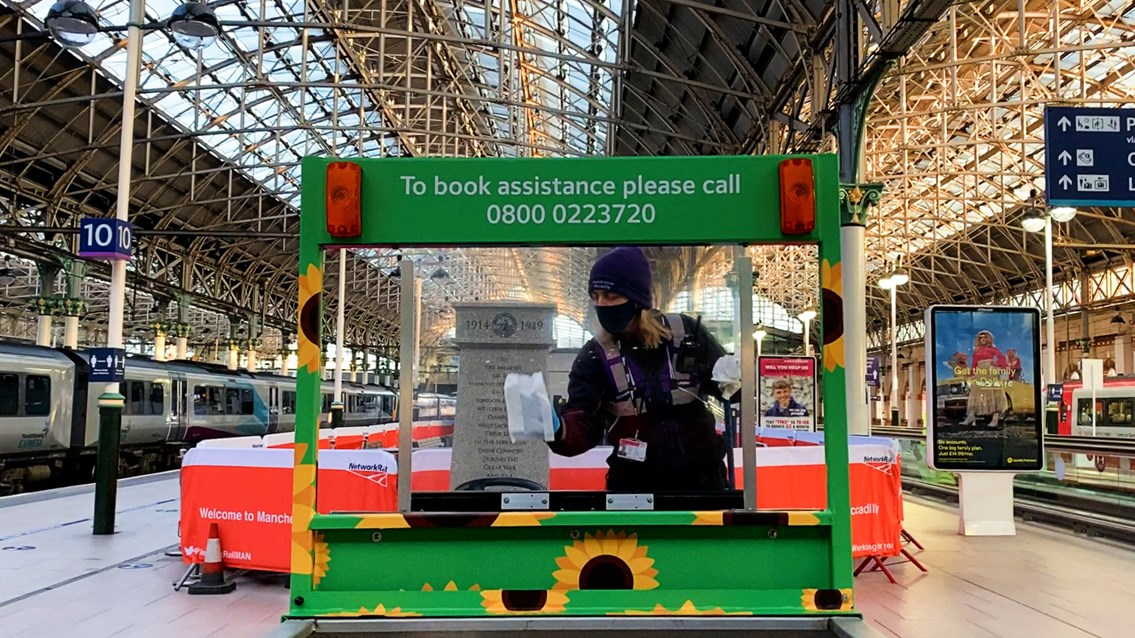 Tests show no traces of Covid-19 at Manchester Piccadilly station: Manchester Piccadilly cleaning assistance buggy stock shot