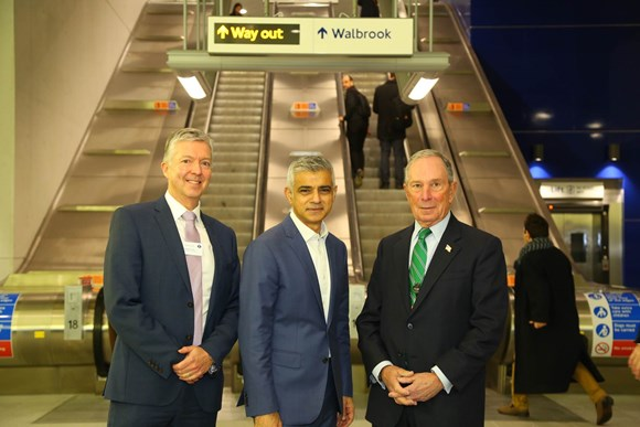 TfL Press Release  - New Waterloo & City line entrance relieves congestion at Bank station: Brown, Khan, Bloomberg - copyright Transport for London