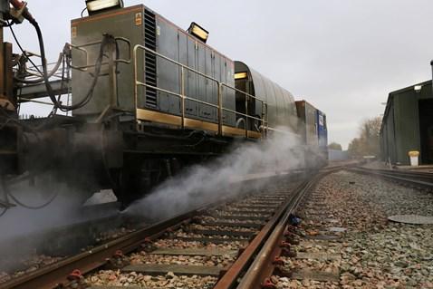 Leaf-busting train at work, Tonbridge