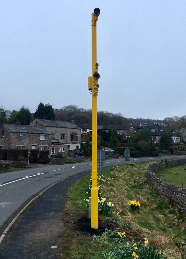 The yellow painted RLSE camera at Black Dyke level crossing in Arnside