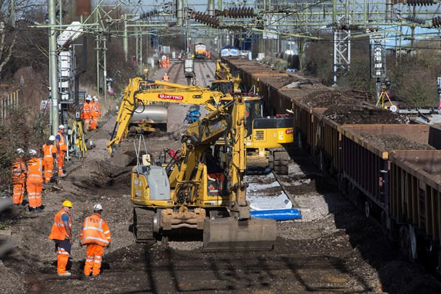 Engineers work to upgrade the railway at Witham, March 2015: Engineers work to upgrade the railway at Witham
