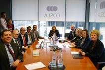 P1140008: Fiona Hyslop, External Affairs Secretary pictured with west coast council representatives at COSLA headquarters, Edinburgh.