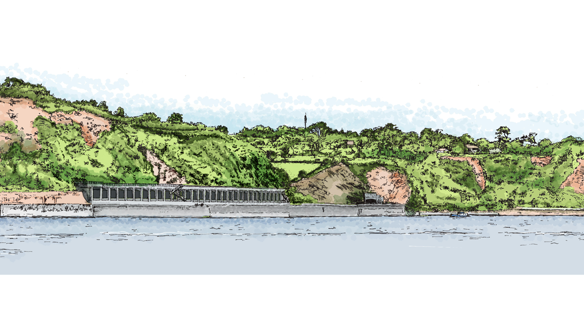 Plans submitted for rockfall shelter extension to protect vital stretch of railway in Devon: Rockfall shelter extension at Parsons Tunnel