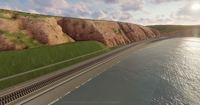 Network Rail unveils proposals to protect vital south west rail line bordered by steep cliffs and the sea: PTT image 4