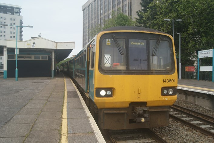 Pacer at Cardiff Queen Street: Class 143 Pacer 143601 at Cardiff Queen Street, 28 May 2021