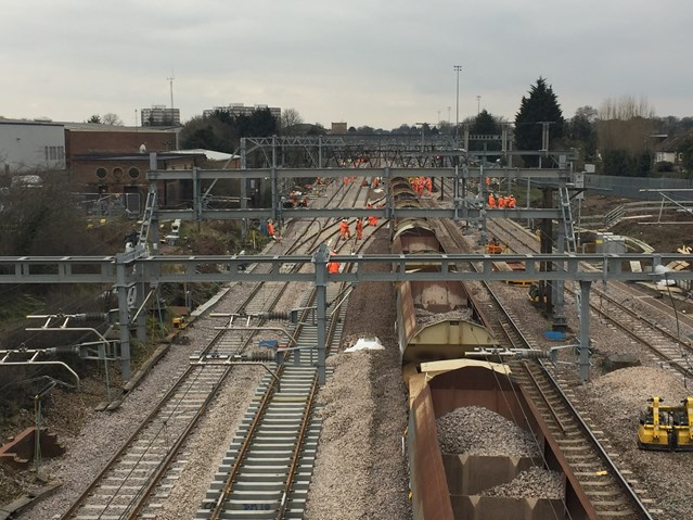 Bumper package of rail upgrades completed this Easter on the main line from Norwich to London: Aerial Shot Gidea Park Track Renewal