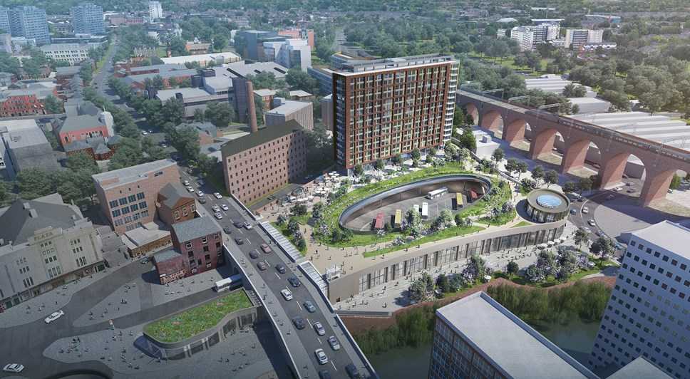 Contractor and delivery partner on board for Stockport's transformational new transport hub, park and residential scheme: Visual Stockport Interchange exterior low res