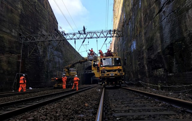 Road Rail Vehicles working on the collapsed wall at Liverpool Lime Street