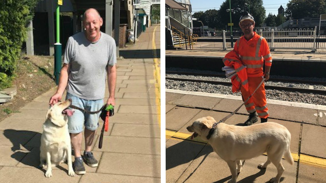 A 'round of a-paws' for dog rescue track engineers: Asha the dog with owner left and rescuer right