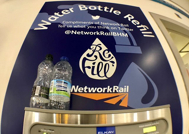 Water bottle refill point at Birmingham New Street station