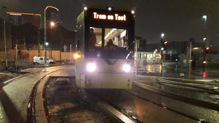 First Metrolink tram is tested on the Trafford Park Line: The first Metrolink tram is tested on the Trafford Park line.