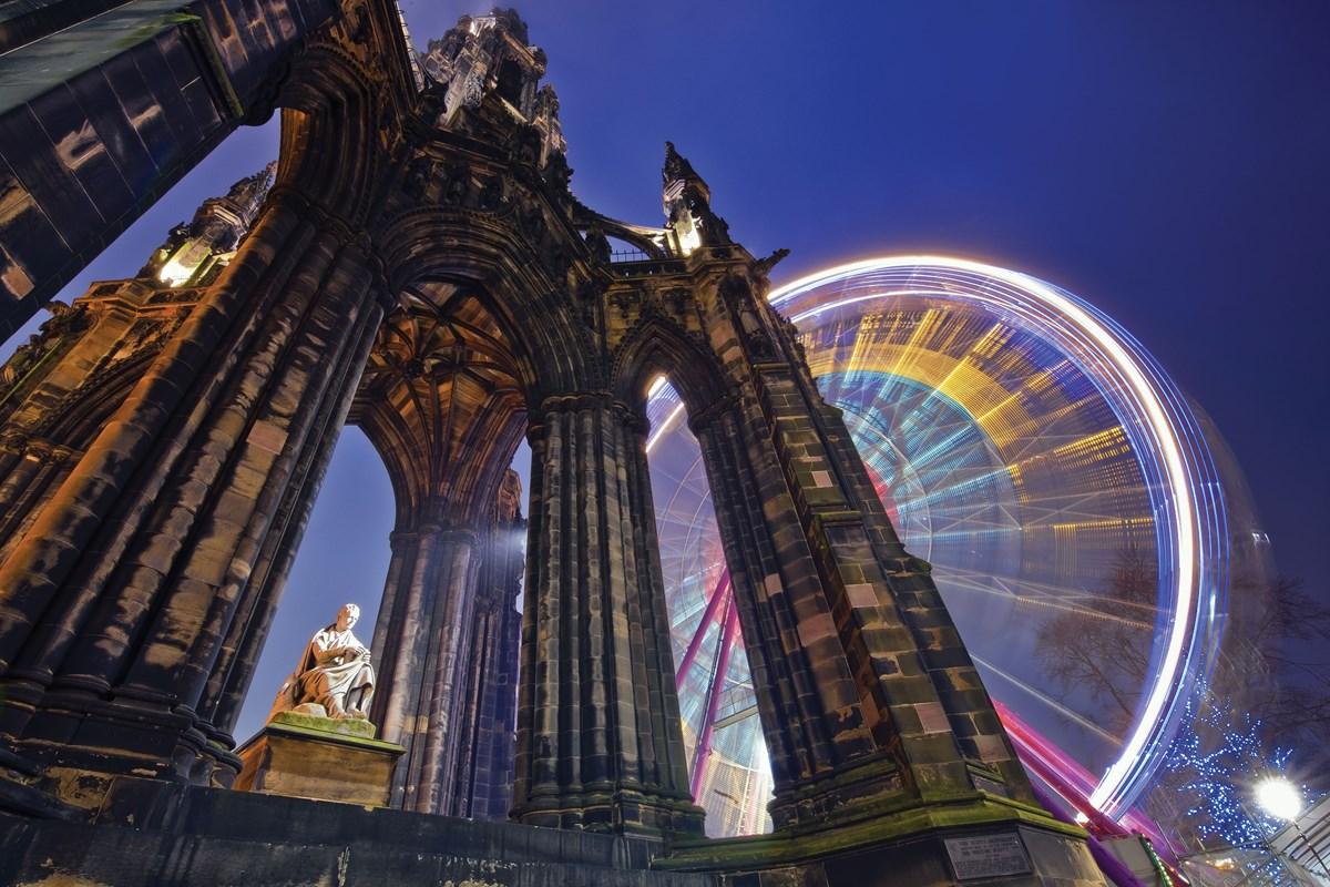 Scott Monument and ferris wheel, Edinburgh