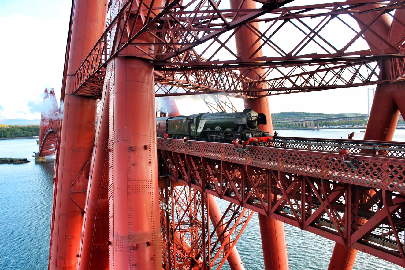 Public urged to stay safe during Flying Scotsman visit: Flying Scotsman Forth Bridge May 15, 2016