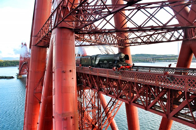 Flying Scotsman tours of Scotland reinstated: Flying Scotsman Forth Bridge May 15, 2016
