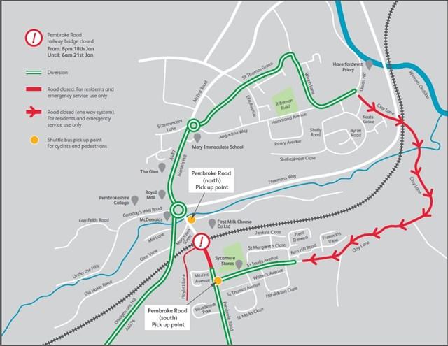 Pembroke Road diversion map