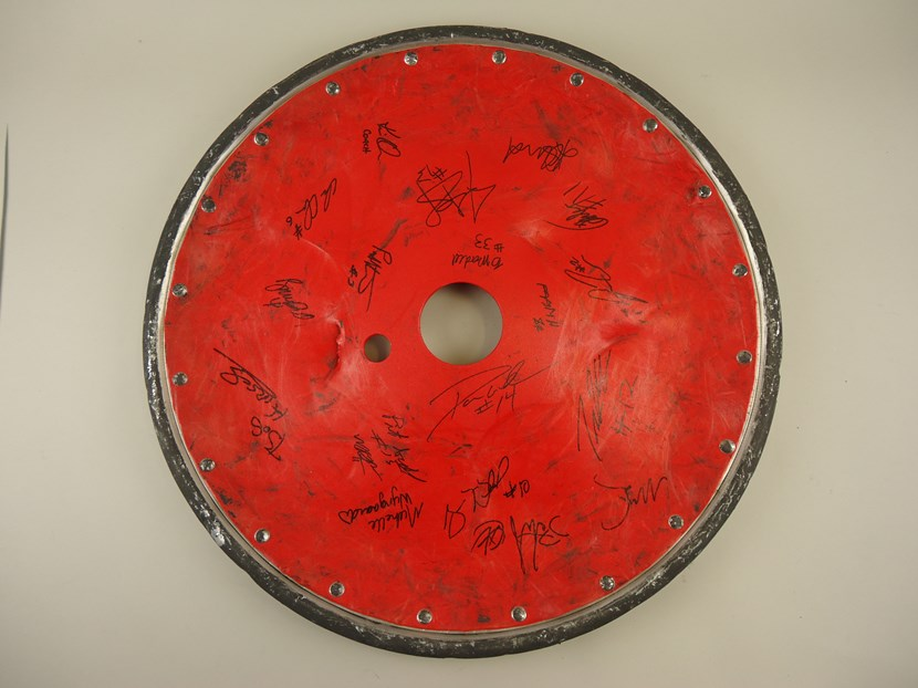 Leeds Museums and Galleries object of the week- Paralympic wheelchair rugby wheel guard: pleasecreditnormantaylorleedm.e.2013.0031.0002.jpg