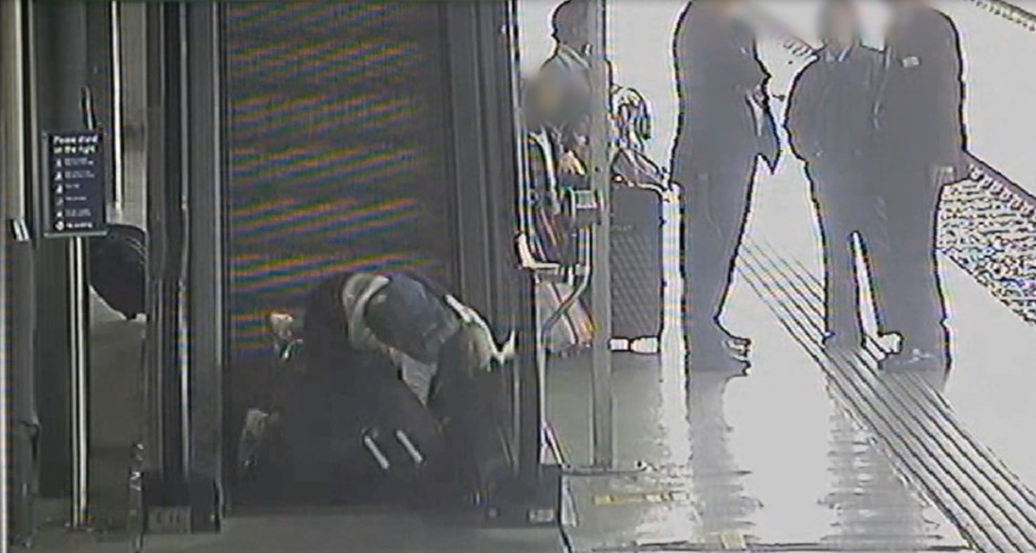 Safety warning issued as frightening CCTV shows holidaymakers taking a tumble at Leeds station: Safety warning issued as frightening CCTV shows holidaymakers taking a tumble at Leeds station