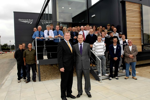 Rail Minister Tom Harris and Network Rail Deputy CEO Iain Coucher with training centre staff and students: Rail Minister Tom Harris and Network Rail Deputy CEO Iain Coucher with the Paddock Wood training centre staff and students