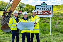 Work begins on Maybole bypass: Maybole sod cut 2