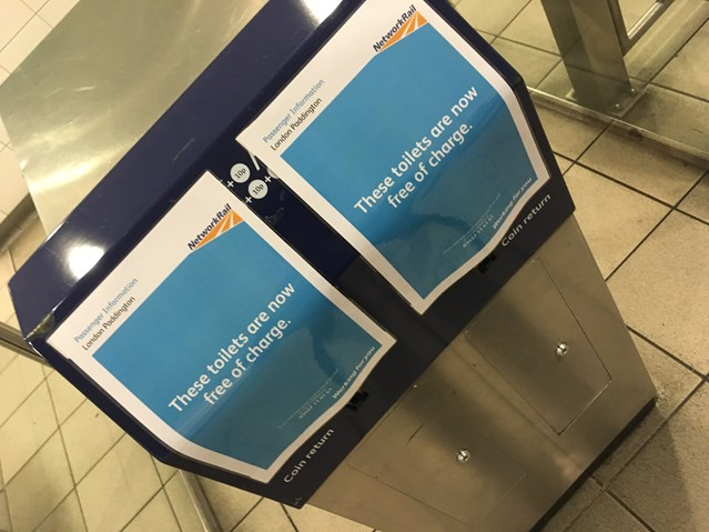 No need to spend a penny as toilet charges scrapped at London Paddington: Toilets are now free at London Paddington