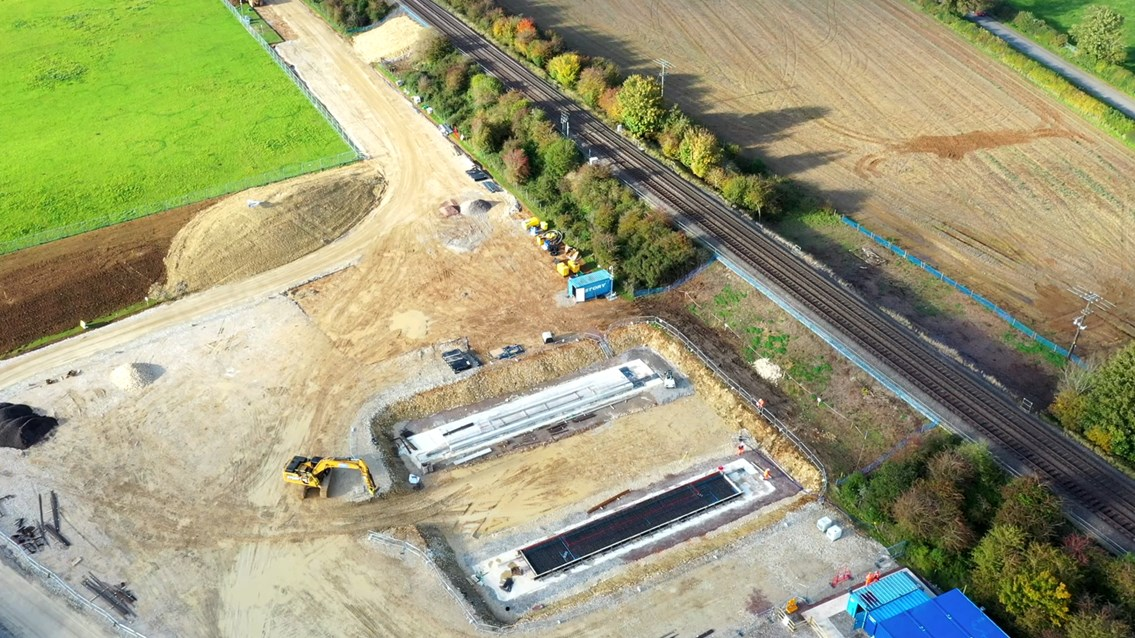 Drone view of preparation work for two new underpasses beside Chiltern main line in Bicester - Autumn 2020