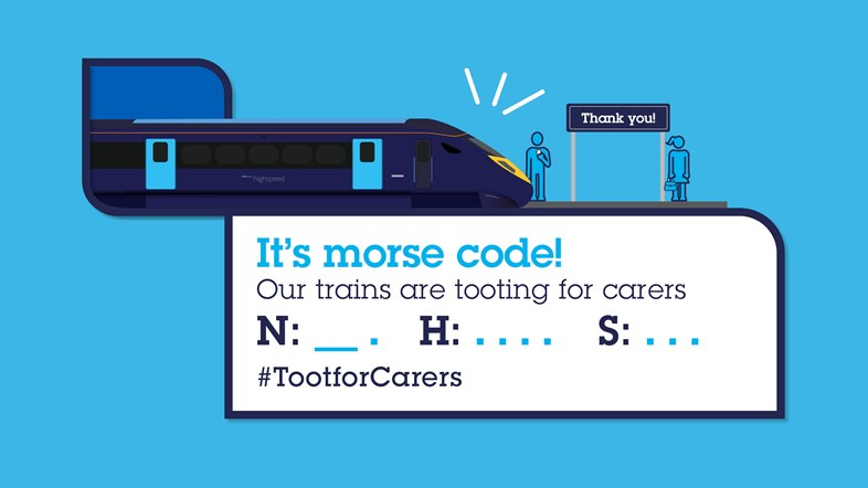 Southeastern trains toot salute for carers: Twitter Card Covid19 MorseCode 3