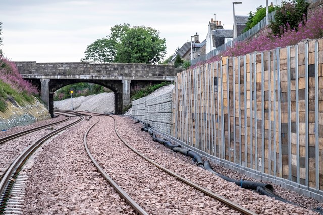 Aberdeen-Inverness line reopens on-time for customers: Pic 1. New track and retaining wall near Crossgates