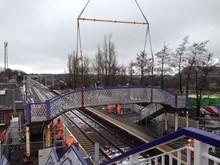 Removing old station footbridge 1