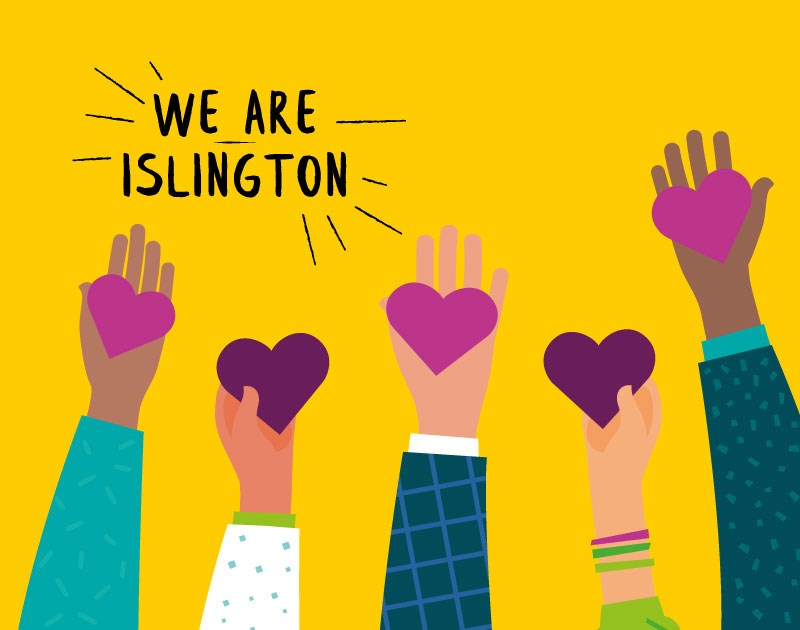 Artwork for the We Are Islington helpline: You can call the We Are Islington helpline on 020 7527 8222 or minicom on 020 7527 1900. Lines are open every day from 9am to 5pm. You can also email: weareislington@islington.gov.uk