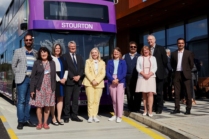 Buses from the past brought back to the future for Ministerial opening of UK's first fully solar powered park and ride: Stourton park and ride official opening