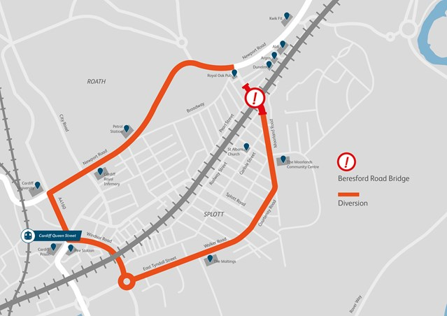 Beresford Road Bridge in Cardiff to temporarily close from this weekend as work to electrify the railway continues: Beresford Road Bridge diversion map