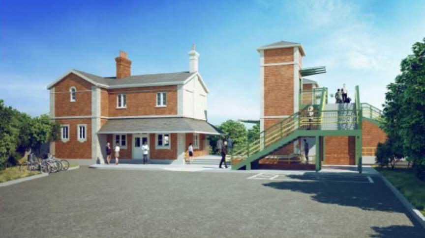 Work to improve access for all at Ham Street station in Kent gets under way: Artist impression of the new lifts and bridge at Ham Street Station