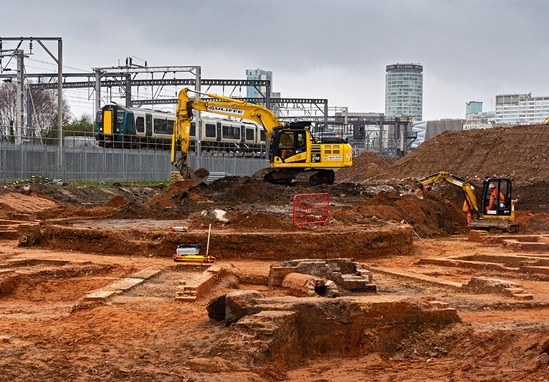 Curzon St site turntable archaeology image 5: HS2 Ltd has unearthed what is thought to be the world's oldest railway roundhouse at the construction site of its Birmingham Curzon Street station. The roundhouse was situated adjacent to the old Curzon Street station, which was the first railway terminus serving the centre of Birmingham. The roundhouse, and specifically the turntable, was used to turn around the engines so locomotives could return back down the line. Engines were also stored and serviced in these facilities. The railway's 1847 roundhouse at the southern end of the line is now better known as the world-renowned Roundhouse music venue in London's Camden.