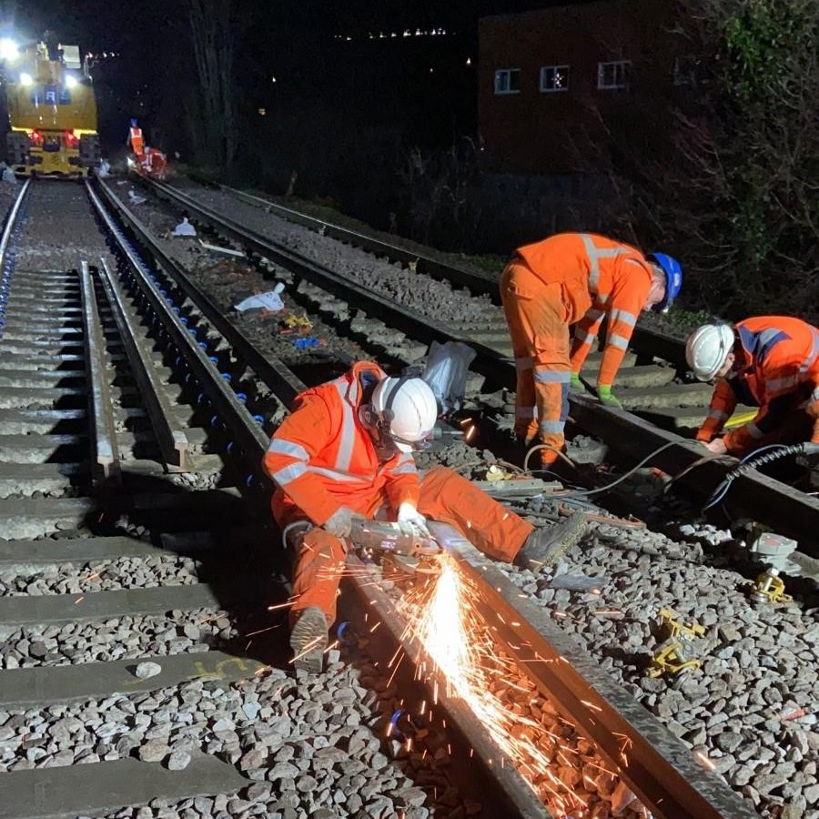 Network Rail staff worked between Christmas and New Year to improve the railway for passengers on lines from London Waterloo to Surrey, Hampshire and Wiltshire: Cosham rail work 2