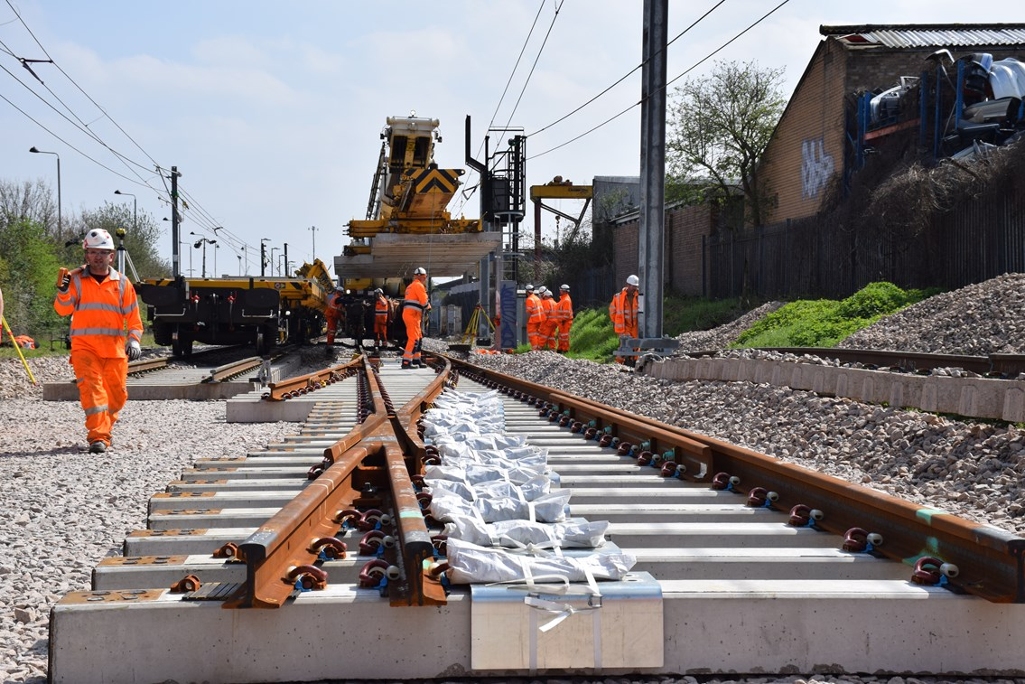 Work to install new track between Lea Bridge and the new Meridian Water station 80% complete: Lee Valley Rail Programme-2