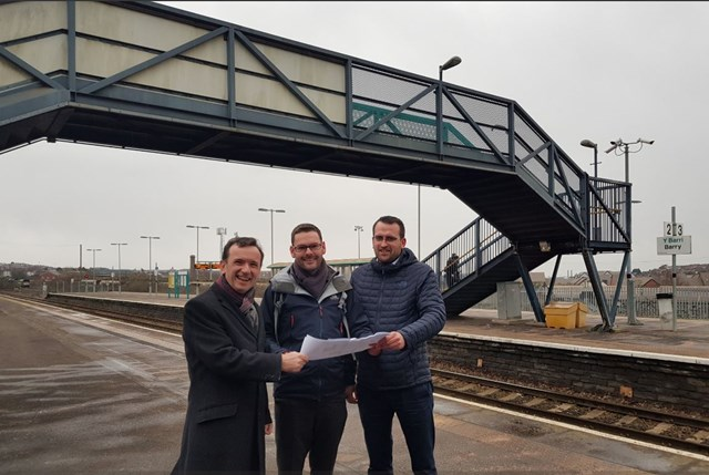 Alun Cairns MP visits Barry and Cadoxton stations: L-R: Alun Cairns MP for the Vale of Glamorgan met with Dale Crutcher, senior commercial scheme sponsor, and Samuel Hadley, senior public affairs manager for Network Rail