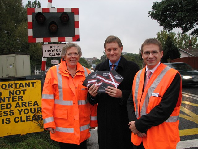 Bootham level crossing - York: Gaynor Farrington, Level Crossing Risk Control Co-ordinator for Network Rail; Hugh Bayley, City of York MP; and Neil Henry, Area General Manager for Network Rail, at Bootham level crossing in York.