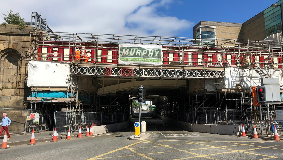 Road closures extended for historic railway bridge restorations in Manchester: Great Ducie Street bridge progress May 2019