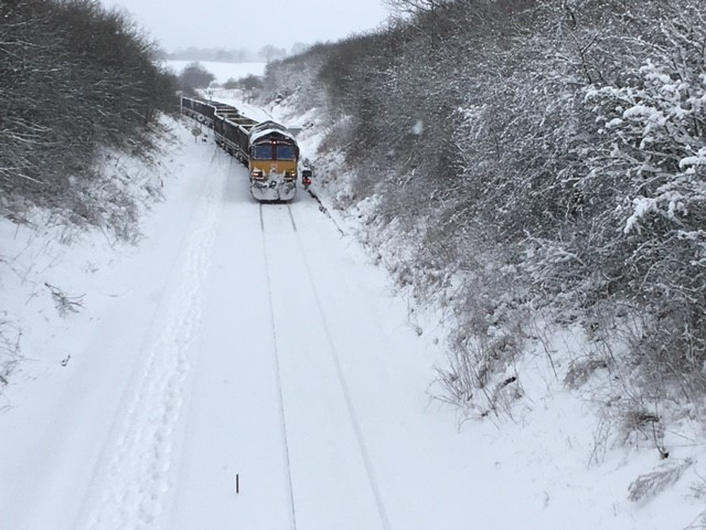 Freight train in the snow