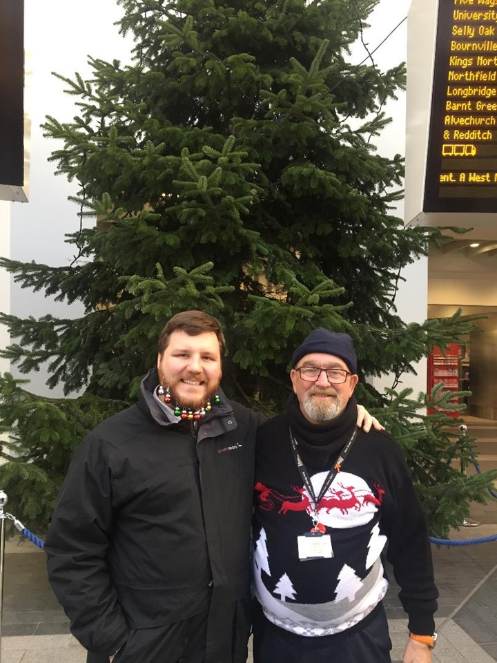Olly Pilsworth of Cross Country with the beard baubles and Chris Mason of Network Rail