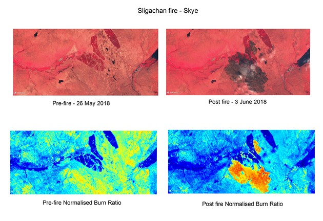 Space imagery helps tackle Scotland's wildfires: Wildfires 2018 - Skye - Sentinel 2 - Before and after - CIR and NBR