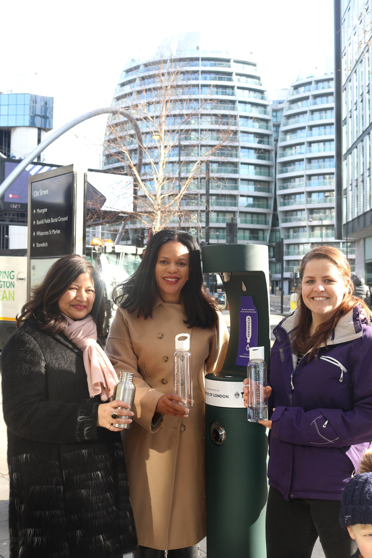 Launch of new Old Street drinking fountain with (L-R) London Deputy Mayor for Environment and Energy Shirley Rodrigues; Cllr Claudia Webbe, Islington Council's executive member for environment and transport; and one of the first members of the public to use the new drinking fountain