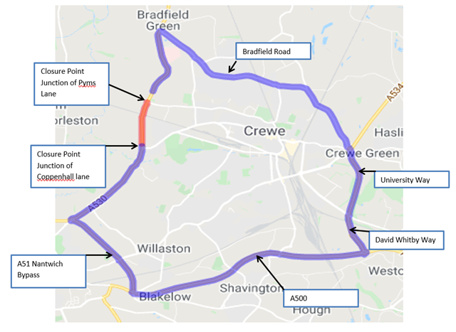 A530 Middlewich Road closure graphic